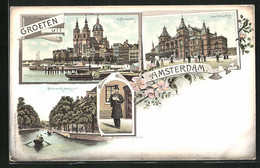 Lithographie Amsterdam, St. Nikolaaskerk, Stads Schouwburg & Bocht Van De Heerengracht - Amsterdam