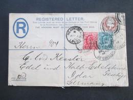 GB 1903 Registered Letter Auslandsbrief Fee Paid 2 Mit 2 Zusatzfrankaturen Meanwood Leeds - Idar Edelsteingeschäft - Briefe U. Dokumente