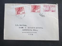 Asien 1955 Syrien / Rep. Syrienne Auslandsbrief In Die USA Banque Misr. Syrie Liban Damas - Jamesville - Syria