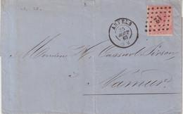 """BELGIQUE : N° 20 . """" ANVERS """" POUR NAMUR . 1967 . - 1865-1866 Profile Left"""