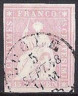 Schweiz Suisse 1857: II.Periode Faden Blau Fil Bleu 15 RAPPEN Rosa Zu 24D Mi 15IIByp Mit O LOCLE 5 SEPT 58(Zu CHF 90.00) - Gebraucht