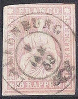 Schweiz Suisse 1857: II.Periode Faden Blau Fil Bleu 15 RAPPEN Rosa Zu 24D Mi 15IIByp  LAUFENBURG 8 JAN 58 (Zu CHF 90.00) - Gebraucht