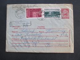 Rumänien 1955 Einschreiben Recomandat Galati Ganzsachen Umschlag Mit 2 Zusatzfrankaturen Vermerk: Nicht Angtr. - Covers & Documents