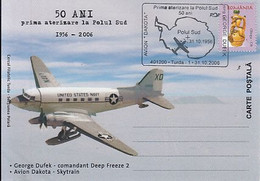 92078- DAKOTA- SKYTRAIN PLANE, FIRST LANDING AT SOUTH POLE, ANTARCTICA, POLAR FLIGHTS, SPECIAL POSTCARD, 2006, ROMANIA - Polare Flüge