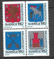 Suède   Bloc De 4 Les N°1127 à 1130 Armoiries   Neufs ( * )    TB  Soldé  à Moins De 15%   Le  Moins Cher Du Site ! ! ! - Ongebruikt
