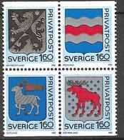 Suède   Bloc De 4 Les N°1215 à 1218 Armoiries   Neufs ( * )    TB  Soldé  à Moins De 15%   Le  Moins Cher Du Site ! ! ! - Ongebruikt