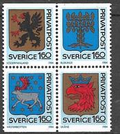 Suède   Bloc De 4 Les N°1260 à 1263 Armoiries   Neufs ( * )    TB  Soldé  à Moins De 15%   Le  Moins Cher Du Site ! ! ! - Ongebruikt
