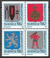 Suède   Bloc De 4 Les N°1368 à 1371 Armoiries   Neufs ( * )    TB  Soldé  à Moins De 15%   Le  Moins Cher Du Site ! ! ! - Ongebruikt