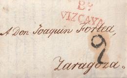 1821-CARTA-PREFILATELIA. BILBAO A ZARAGOZA. Marca Bº / VIZCAYA - ...-1850 Voorfilatelie