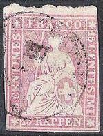 Schweiz Suisse 1857: II.Periode Faden Blau Fil Bleu 15 RAPPEN Kräftigrosa Rose-fort Zu 24Da Mi 15IIByp 27 (Zu CHF 90.00) - Gebraucht