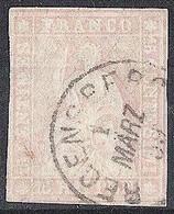 Schweiz Suisse 1857: II.Periode Fil Bl 15 RAPPEN Mattrosa Rose-mat Zu 24D Mi 15IIByp REGENSBERG 1 MÄRZ 59 (Zu CHF 90.00) - Gebraucht