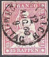 Schweiz Suisse 1858: III.Periode Faden Grün Fil Vert 15 RAPPEN Zu 24G Mi 15IIBym Yv 28 O ZÜRICH 12.AUG.60 (Zu CHF 75.00) - Gebraucht