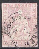 Schweiz Suisse 1858: III.Periode Faden Grün Fil Vert 15 RAPPEN Zu 24G Mi 15IIBym Yv 28 BASEL BRIEFEXPEDIT (Zu CHF 75.00) - Gebraucht