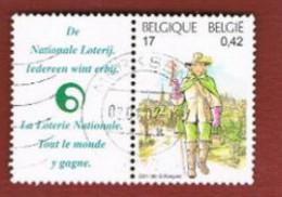 BELGIO (BELGIUM)   - SG 3630   -  2001 BELGICA 2001  (WITH LABEL)  - USED - Gebraucht