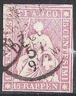 Schweiz Suisse 1858: III.Periode Faden Grün Fil Vert 15 RAPPEN Zu 24G Mi 15IIBym Yv 28 Mit O 25 DECE 57 (Zu CHF 75.00) - Gebraucht