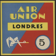 1923 - 1933 AVIATION AIR UNION (Deviendra Air France En 1933) Etiquette Bagage (Luggage Label) - Other