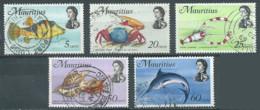 Maurice YT N°332-335-336-340-341 Faune Marine Oblitéré ° - Mauritius (1968-...)