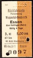 Deutschland 1956 Wuppertal - Heubruch > Essen Ruhr Edmondson Rück- Fahrkarte Boleto Biglietto Ticket Billet - Europe