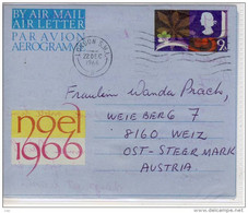 GB - Postal Stationary, Air Mail Letter, AEROGRAMM, PU 1966 From London To Austria, Christmas - Interi Postali