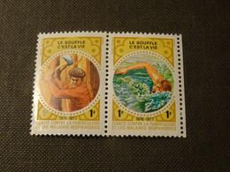 FRANCE1976-77  Le Souffle C Est La Vie  TUBERCULOSE 1 Franc X 2 Neuf* - Antitubercolosi