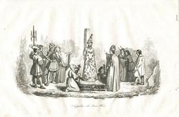 Antique Engraving 1835 Jan Hus Condemnation Execution Burning Bonfire Heretic Costume Devil Cap - Prenten & Gravure