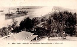 Port Said-Egitto-The SuezFreshwater Canals Shawing 14 Miles-Valore Numismatico Alto--Originale 100%- - Port Said