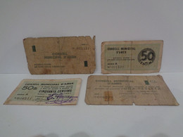 Lote De 4 Billetes Municipales De Amer. 50 Centims Y 1 Pesseta. 1 Maig 1937. Guerra Civil De España. - Otros