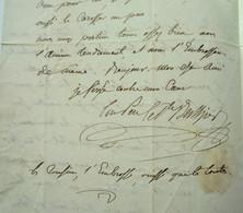 Lettre De César Berthier, Général, Frère Du Maréchal, à Son Fils Paul (1818) - Handtekening