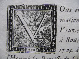 Morceau D'un Faire Part De Décès ROUEN En 1723 Madeleine Le Bret Veuve De Louis Renault  Marchand Eglise Saint Pierre - Historical Documents