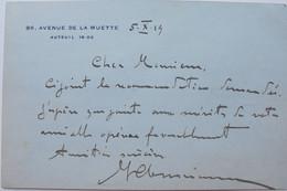 Michel Clémenceau, Carte Autographe Signée, 1919 (fils De Georges Clémenceau) - Handtekening