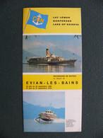 Dépliant Touristique LAC LEMAN 1969 Evian Les Bains Thonon Lausanne Ouchy Montreux Chillon Albatros Horaires Tarifs - Dépliants Touristiques