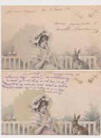 2 Cartes Fantaisie Signées Wichera . MM.VIENNE / Jeune Femme Sous Une Ombrelle , Lapin , Poussins .Joyeuses Pâques - Wichera