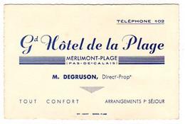 S48-011 Grand Hôtel De La Plage à Merlimont-Plage - Tarjetas De Visita
