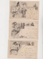 3 Cartes Fantaisie . MM.VIENNE / Art Nouveau, Style Romain , Jeunes Femmes - Non Classificati