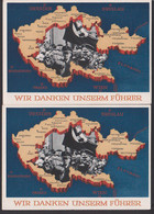 Bildpostkarte 6 Pfg. Zwei GA Un- Bzw. Gebraucht Sudeten Landkarte, SoSt. Reichenberg 4.12.38, Kaplitz Znaim Proppau Eger - Covers & Documents