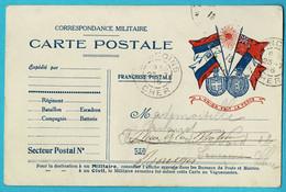 WWI 14-18 Carte Postale FM Correspondance Militaire Modèle 4 Drapeaux + L'UNION FAIT LA FORCE Cachet  SANCOIS 23-7-1916 - Guerra Del 1914-18