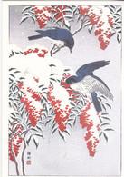 """""""Oiseaux Sous La Neige """" - Ohara Koson - Meilleurs Voeux - Santa Claus"""