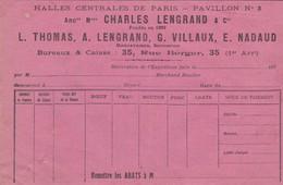PARIS CHARLES LENGRAND THOMAS VILLAUX NADAUD HALLES CENTRALES DE PARIS PAVILLON N° 8 ANNEE 1920 30 - Unclassified