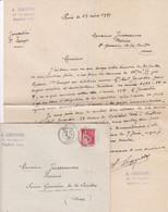 PARIS A LEQUESNE LETTRE ET ENVELOPPE AVEC ENTETE CACHET ANNEE 1935 - Unclassified