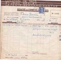 LA FERTE BERNARD JEAN BEALET LOCATION DE SACS 2 DOCUMENTS ANNEE 1950 AVEC TIMBRE ET CACHET - Unclassified