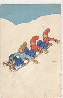 Illustrateur Martin  - Hiver Montagne Ski - 3 Enfants En Bobsleigh - Autres Illustrateurs