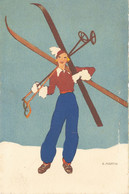 Illustrateur Martin  - Hiver Montagne Ski - Femme à Ski - Autres Illustrateurs