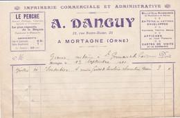 MORTAGNE AU PERCHE A DANGUY IMPRIMERIE COMMERCIALE LE PERCHE ANNEE 1910 - Unclassified