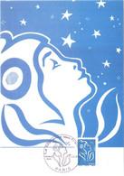 Carte Maximum YT 4159 Marianne De Lamouche Roulette Bleue Sans Valeur TBE 1er Jour 01 03 2008 Paris (75) - 2000-09