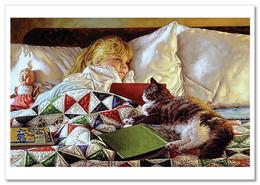 JIM DALY KIDS ~ LITTLE GIRL & Book Cat DOLL Fairy Tale Dream Art Modern Postcard - Sin Clasificación