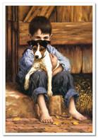 LITTLE BOY Hug DOG Terrier Friends JIM DALY KIDS ART Modern Postcard - Sin Clasificación