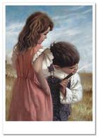 LITTLE GIRL & BOY Drinking Water From A Hose JIM DALY KIDS ART Modern Postcard - Sin Clasificación