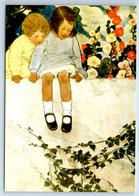 LITTLE GIRL & BOY In Garden Flowers By Smith New Unposted Postcard - Sin Clasificación