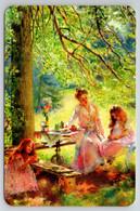 LITTLE GIRLS N Woman In Garden Feast Tea Party By Makovsky Russian New Postcard - Sin Clasificación