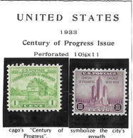 USA=1933  Century Of Progress   1 +3 Cents Stamp Issue  Scot#728-29 - Zonder Classificatie
